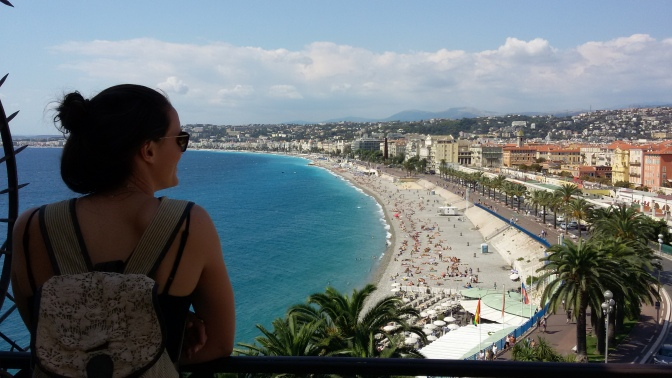 Natasha looking over the Cote d'Azure (the blue coast of the French Riviera), Nice.