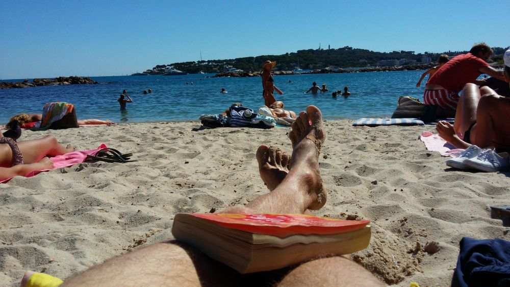 Enjoying Antibes beach this afternoon, at last, relaxation